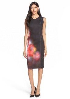 Elie Tahari 'Chrissy' Print Neoprene Sheath Dress