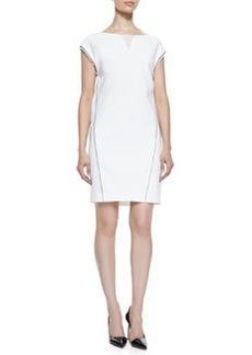 Elie Tahari Christina Cap-Sleeve Dress with Illusion V-Neck
