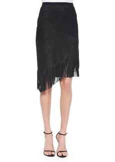 Elie Tahari Claudette Suede Skirt W/ Fringe  Claudette Suede Skirt W/ Fringe