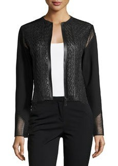 Elie Tahari Clearly Leather & Mesh Jacket