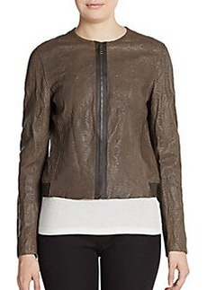 Elie Tahari Cleary Embossed Leather Jacket