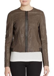 Elie Tahari Cleary Embossed Leather Jacket
