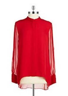 ELIE TAHARI Cold-Shoulder Button-Front Blouse