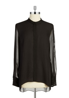 ELIE TAHARI Cold-Shoulder Button-Front Blouse