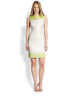 Elie Tahari Colorblock Jacquard Dress