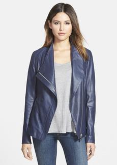 Elie Tahari 'Constance' Drape Front Leather Jacket