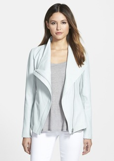 Elie Tahari 'Constance' Drape Front Leather Jacket