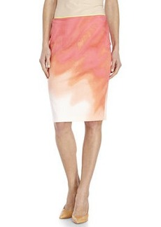 elie tahari Coral Tie-Dye Woven Pencil Skirt