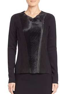 Elie Tahari Courtney Perforated-Calf Hair Jacket