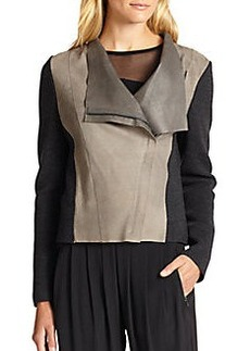 Elie Tahari Courtney Suede & Merino Wool Moto Jacket