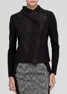 Elie Tahari Courtney Suede Panel Jacket