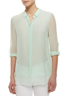 Elie Tahari Crista Long-Sleeve Sheer Blouse