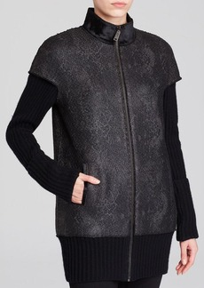 Elie Tahari Cynthia Coated Tweed Coat