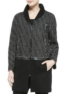 Elie Tahari Dalia Long Combo Zip-Front Coat