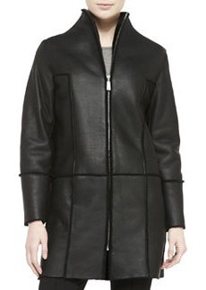 Elie Tahari Dalia Seamed Leather Coat W/ Shearling Fur Lining