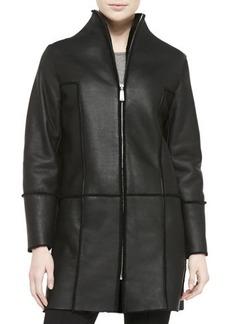 Elie Tahari Dalia Seamed Leather Coat W/ Shearling Fur Lining