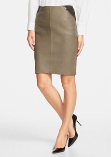 Elie Tahari 'Daniella' Wool Blend & Leather Skirt