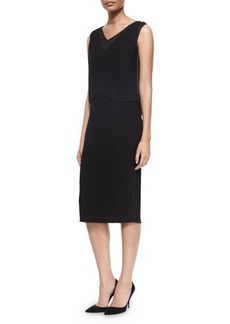 Elie Tahari Danni Sleeveless Dress W/ Popover