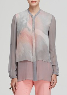 Elie Tahari Dash Tiered Printed Blouse