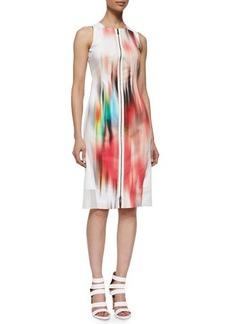 Elie Tahari Davis Blur-Print Sleeveless Sheath Dress  Davis Blur-Print Sleeveless Sheath Dress