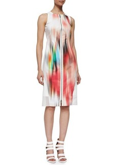 Elie Tahari Davis Blur-Print Sleeveless Sheath Dress