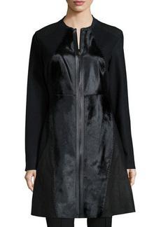 Elie Tahari Dawson Leather & Calf-Hair Mid-Length Coat  Dawson Leather & Calf-Hair Mid-Length Coat