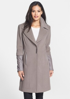 Elie Tahari 'Dawson' Leather Trim Wool Coat