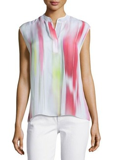 Elie Tahari Decklan Sleeveless Multi-Shade Silk Blouse