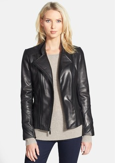 Elie Tahari 'Delphine' Double Zip Leather Moto Jacket