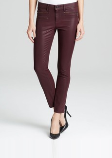 Elie Tahari Denim Coated Zip Moto Jeans in Wine