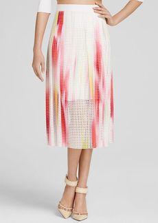 Elie Tahari Dillan Printed Eyelet Skirt