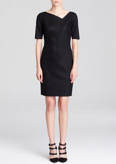 Elie Tahari Dillon Asymmetric V Neck Dress