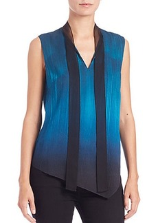 Elie Tahari Dina Asymmetrical Tie-Neck Blouse