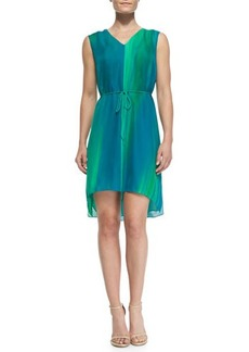 Elie Tahari Dorene Sleeveless High-Low Silk Dress