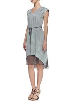 Elie Tahari Dorene Sleeveless Tie-Waist Dress, Soft Sky