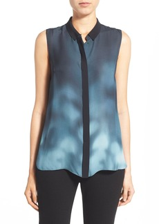 Elie Tahari 'Dot' Print Sleeveless Silk Georgette Blouse