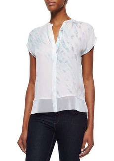 Elie Tahari Dylan Short-Sleeve Button-Front Blouse