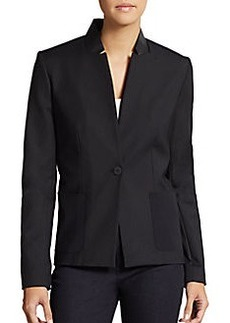 Elie Tahari Ellen Leather-Trim Back-Zip Jacket