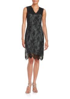 ELIE TAHARI Embellished Floral Lace Sheath Dress
