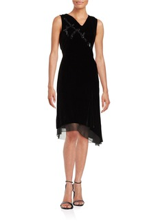 ELIE TAHARI Embellished Velvet Dress