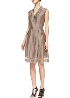 Elie Tahari Emma Sleeveless Sheer-Hem Dress, Sandstone