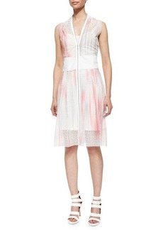 Elie Tahari Emma Zip-Front Perforated Dress