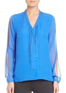 Elie Tahari Emmy Embellished Silk Blouse