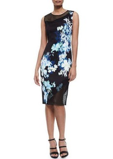 Elie Tahari Emory Floral-Print Sheath Dress W/ Mesh  Emory Floral-Print Sheath Dress W/ Mesh