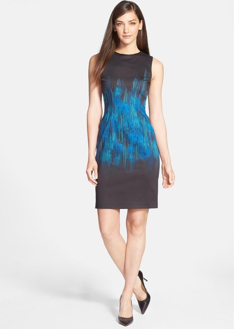 Elie Tahari 'Emory' Placed Print Sateen Sheath Dress