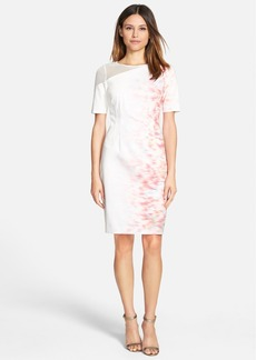 Elie Tahari 'Emory' Print Mesh Detail Short Sleeve Sheath Dress