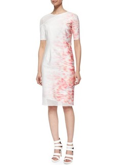 Elie Tahari Emory Short-Sleeve Sheath Dress W/ Mesh Detail