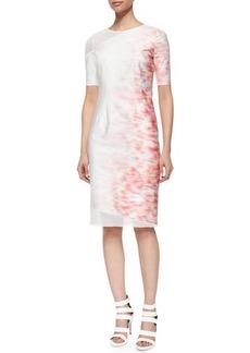 Elie Tahari Emory Short-Sleeve Sheath Dress W/ Mesh Detail  Emory Short-Sleeve Sheath Dress W/ Mesh Detail