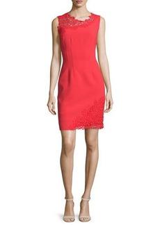 Elie Tahari Emory Sleeveless Sheath Dress with Lace Detail  Emory Sleeveless Sheath Dress with Lace Detail