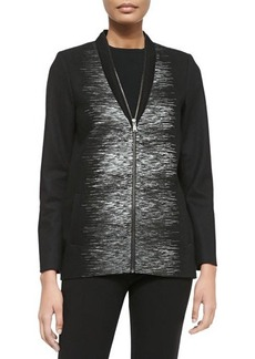 Elie Tahari Enya Zip-Front Coat W/ Linear Print
